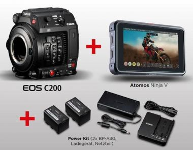 Canon EOS C200 + Atomos Ninja V + Canon Power Kit